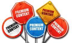 Premium content, 3D rendering, street signs Stock Illustration