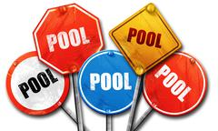 Pool, 3D rendering, street signs Stock Illustration