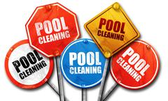 pool cleaning, 3D rendering, street signs - stock illustration