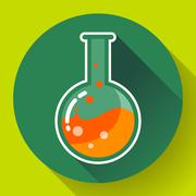 Round chemical lab flask with liquid icon. Flat design style. - stock illustration