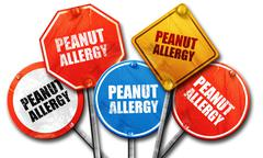 peanut allergy, 3D rendering, street signs - stock illustration
