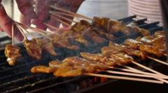 Street Food Pork Satay 2 Stock Footage