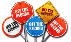 off the record, 3D rendering, street signs - stock illustration