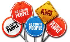 No stupid people, 3D rendering, street signs Stock Illustration
