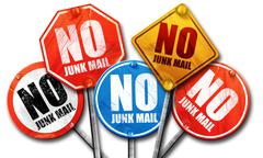 no junk mail, 3D rendering, street signs - stock illustration