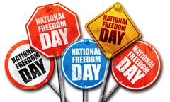 national freedom day, 3D rendering, street signs - stock illustration