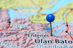Erdenet pinned on a map of Mongolia - stock photo