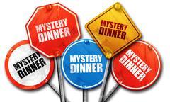 Mystery dinner, 3D rendering, street signs Stock Illustration