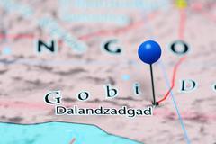 Dalandzadgad pinned on a map of Mongolia - stock photo