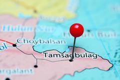 Tamsagbulag pinned on a map of Mongolia - stock photo