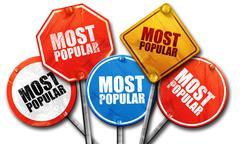 Most popular, 3D rendering, street signs Stock Illustration