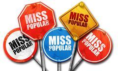 miss popular, 3D rendering, street signs - stock illustration