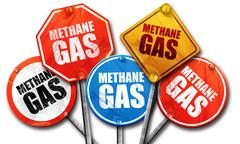 methane gas, 3D rendering, street signs - stock illustration