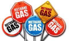 Methane gas, 3D rendering, street signs Stock Illustration