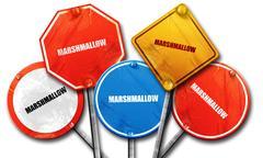 marshmallow, 3D rendering, street signs - stock illustration