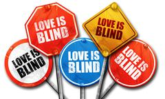 Love is blind, 3D rendering, street signs Stock Illustration