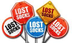 lost socks, 3D rendering, street signs - stock illustration