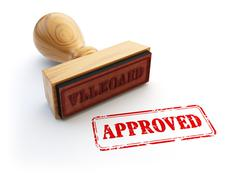Stamp Approved isolated on white. Agreement or approval concept. - stock illustration