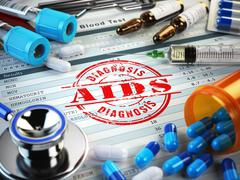 AIDS disease diagnosis. Stamp, stethoscope, syringe, blood test and pills on - stock illustration