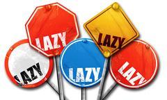 Lazy, 3D rendering, street signs Stock Illustration