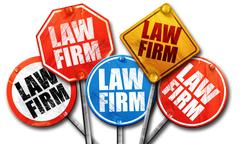 law firm, 3D rendering, street signs - stock illustration