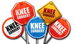 Knee surgery, 3D rendering, street signs Stock Illustration