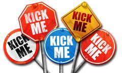 Kick me, 3D rendering, street signs Stock Illustration