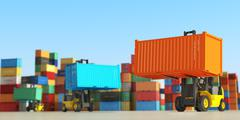 Forklift trucks with cargo containers in storage area. Delivery  or shipping - stock illustration