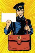 Cheerful retro postman pop art - stock illustration