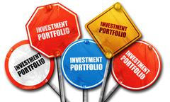 investment portfolio, 3D rendering, street signs - stock illustration