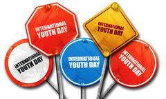 international youth day, 3D rendering, street signs - stock illustration