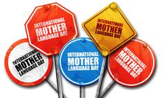 international mother language day, 3D rendering, street signs - stock illustration