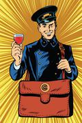 Smiling retro postman with a greeting glass of wine - stock illustration