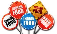 indian food, 3D rendering, street signs - stock illustration