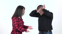 Woman edify to the man, he silently nods. Slow motion Stock Footage