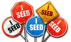 i seed, 3D rendering, street signs - stock illustration