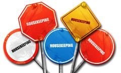 housekeeping, 3D rendering, street signs - stock illustration