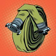 Retro green fire hose - stock illustration