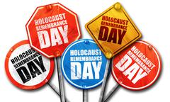 holocaust remembrance day, 3D rendering, street signs - stock illustration