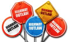Highway outlaw, 3D rendering, street signs Stock Illustration