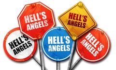 Hell's angels, 3D rendering, street signs Stock Illustration
