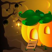 Halloween pumpkin house with lamp and bats on the tree - stock illustration