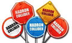 hadron collider, 3D rendering, street signs - stock illustration