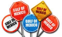gulf of mexico, 3D rendering, street signs - stock illustration