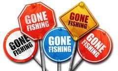 gone fishing, 3D rendering, street signs - stock illustration