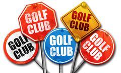 golf club, 3D rendering, street signs - stock illustration