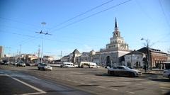 Moscow, Russia - 14.03.2016. Traffic on Komsomolskaya Square Stock Footage