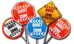 Quiet zone sign, 3D rendering, street signs - stock illustration