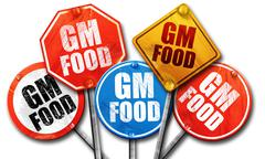 gm food, 3D rendering, street signs - stock illustration