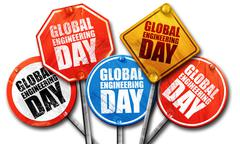 Global engineering day, 3D rendering, street signs Stock Illustration